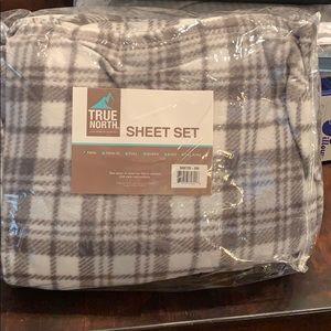 Micro fleece twin sheets. Super soft. True north.